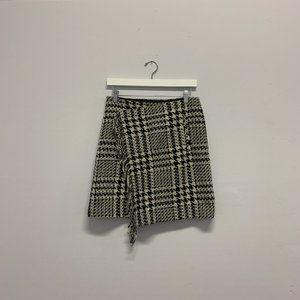 Eddie Bauer Cozy Houndstooth Wrap Skirt w/ Fringe